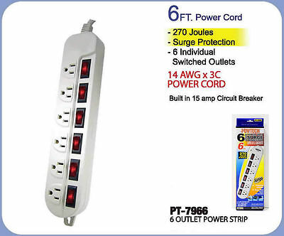 6 Outlets Power Strip T-Type With 15Amp Circuit Breaker 1875W Surge Protection