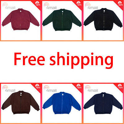 Boys Girls Unisex Kids Fleecy Fleece School Uniforms Zippered Jacket Top Sz