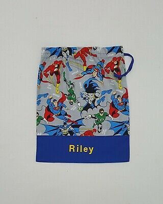 *free Name Superhero Fabric Made Into Personalised Library Bag Boy Kinder Fd