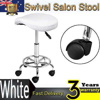 Saddle Salon Stool White PU Swivel Barber Hair Dress Chair Hydraulic Lift Office