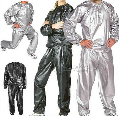 Women Men Sweat Sauna Suit Exercise Gym Fitness Training Weight Loss Anti-Rip