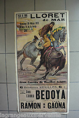 AUTHENTIQUE AFFICHE de 1952 LLORET DE MAR CORRIDA BEDOYA