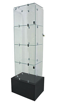 Security Glass Tower Showcase Jewelry Display Fixture Knockdown Case NEW