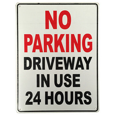 WARNING NOTICE SIGN NO PARKING DRIVEWAY IN USE 24HR 225x300mm Metal High Quality