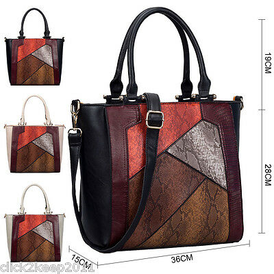Womens Ladies Faux Leather Mock Snake Patchwork Large Shoulder Handbag Bag