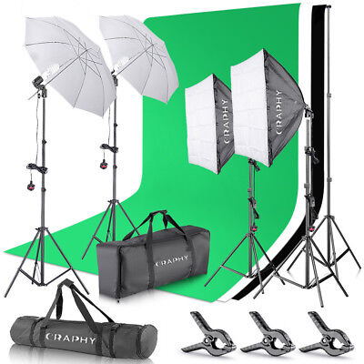 Photo 2000W Softbox Boom Arm Continuous Lighting Kit 3 Background Backdrop Stand