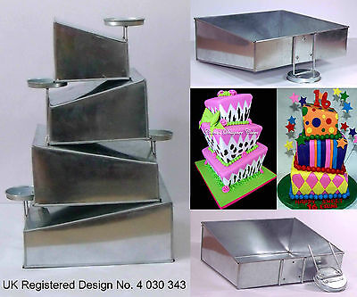 """Topsy Turvy 4 Tier Square Cake Pans Tins New Design By EuroTins 6"""" 8"""" 10"""" 12"""""""