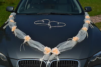 wedding car decoration, ribbon ,garland, mariage , matrimonio,  IVORY/  PEACH
