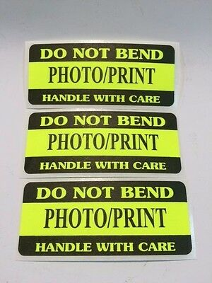 250 1.25 x 3 DO NOT BEND PHOTO/PRINT HANDLE WITH CARE NEON YELLOW DO NOT BEND