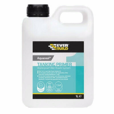 Everbuild Aquaseal Wet Room Kit Tanking Primer Paint 1 litre Plasterboard Tile