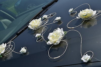 wedding car decoration, ribbon , bows, prom limusine decoration,  XXL ivory