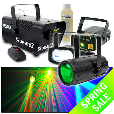 Beamz Red and Green Laser + Moonflower LED Light + Strobe + 500W Smoke Machine