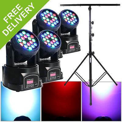 4x Beamz Moving Head LED Party Disco Lights + 4x DMX Cables + DJ Stand