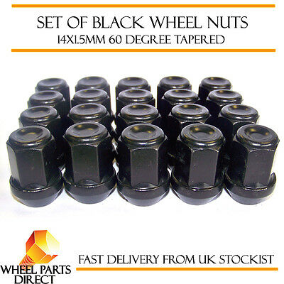 Alloy Wheel Nuts Black (20) 14x1.5 Bolts for Chrysler 300 C [Mk1] 05-10
