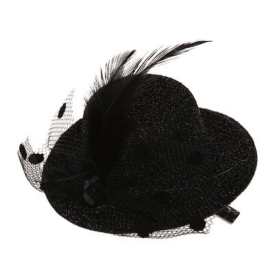 Feather Net Bow Hair Clip Black Mini Top Hat Party Lolita Cosplay Goth S*