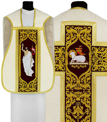 Roman chasuble with matching stole, maniple, burse, chalice veil R682-AKC25