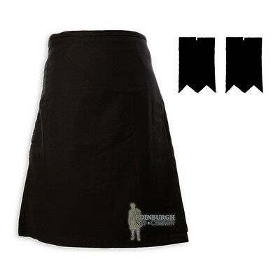Mens Scottish Tartan Deluxe 8-Yd Kilt & Flashes Set - Black (Plain) 46-48""