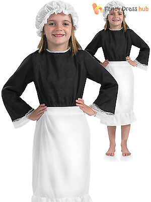 Girls Victorian Servant Apron Hat Fancy Dress Costume School Book Outfit Kids