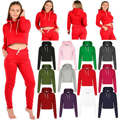 Women's Girls Plain Casual Crop Top Pullover Hooded Sweatshirt Jumper Hoodie