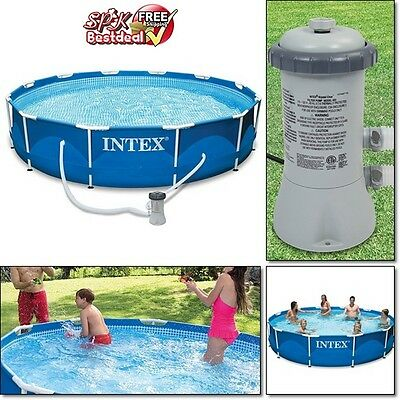 """30 """" Large Pool Metal Frame Swimming Above Ground Adult Kids Outdoor Filter Pump"""