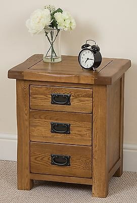 Cotswold Rustic Solid Oak Wood 3 Drawer Bedside Table Cabinet Chest of Drawers