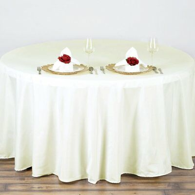 "10 IVORY CREAM 90"" ROUND POLYESTER TABLECLOTHS Wholesale Tabletop Decorations"