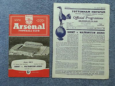 1959 - FA AMATEUR CUP SEMI FINAL + REPLAY PROGRAMME - BARNET v WALTHAMSTOW