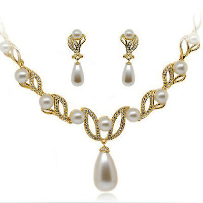 Off-White Ivory Pearl & Gold Set Rhinestone Crystals Bridal Jewellery Wedding