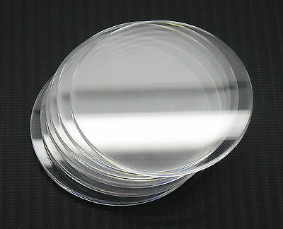 5x Acrylic/Perspex 75mm discs - Cut from 3mm clear acrylic sheets