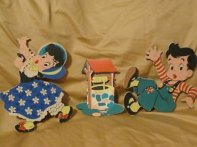 Vintage 1950's Dolly Toy Company Jack & Jill Wall Hanging Set Mother Goose 3 Pcs