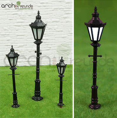 2 x LED Park lanterns Street lamp Modelmaking 1:30/1:50 Model railway 1 gauge/0