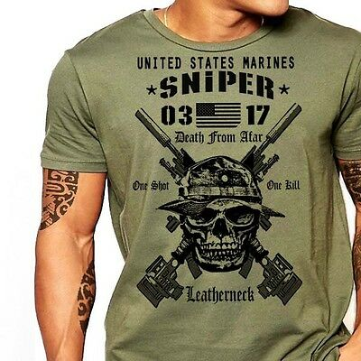 USMC Scout Sniper T-Shirt US Marines MOS 0317  Combat Arms Men Cotton Tee New