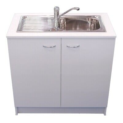 New 900 KITCHEN SINK + Mixer Tap + White Base Cabinet Cupboard Package Laundry