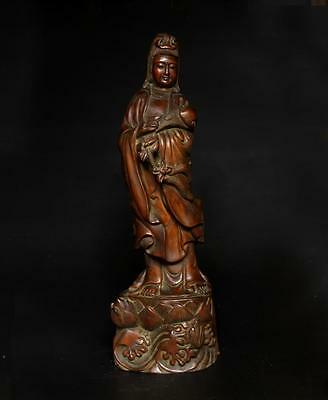 Very Beautiful Chinese Carved Wood Kwan-Yin Statue - Marked