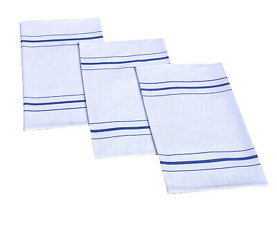 Pack Of 10 Cotton Rich White With Coloured Stripe Tea Towel Glass Cloth