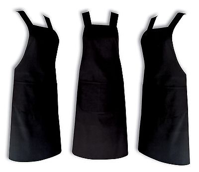 Chefs Apron 100% Cotton Catering With Bib Pockets Cooking Bbq Chef Black Aprons