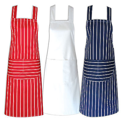 100% Cotton Butchers Catering Cooking Chef Professional Aprons With Bib Pockets