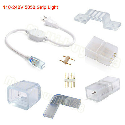 5050 LED Strip Light Clips Connectors Power Plug Accessories for 100-240V Strips