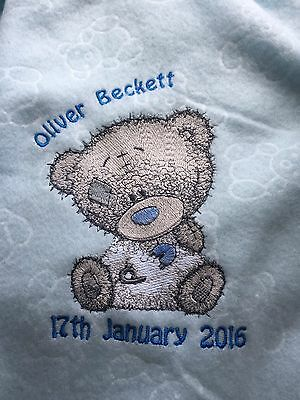 Personalised Embroidery Baby Tatty Grey Teddy Bear Pink Blue Fleece Blanket Gift