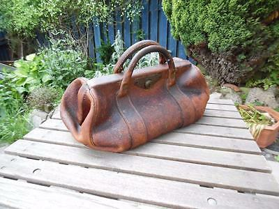 Antique leather Gladstone bag, lots of character