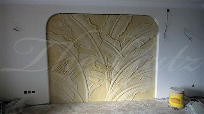 Marble Relief Panel, Palm Leaf Design, Very Large, Tropical Hand Carved