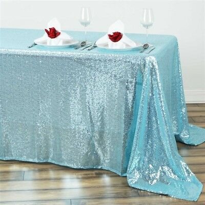"90x132"" Serenity Blue SEQUIN RECTANGLE TABLECLOTH Wedding Party Catering Linens"