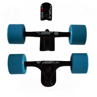 Easy People Longboards Black Truck set Blue wheels,Spacer,ABEC-7 New