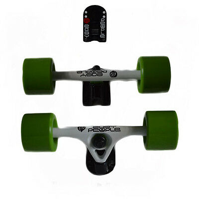 Easy People Longboards White Truck set: Green Wheels,Spacer,ABEC-7  new