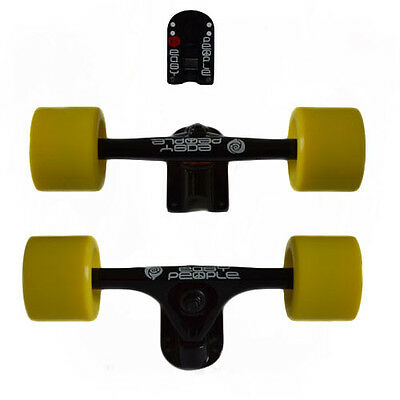 Easy People Longboards White Trucks Yellow Wheels,Spacer,ABEC-7 New