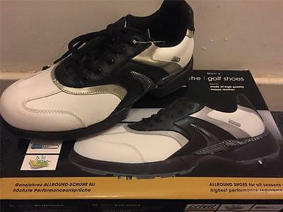 New Mens Crivit Golf Shoes Nappa Leather Black/white Sizes 7 8 9 10 Mega Sale!!!