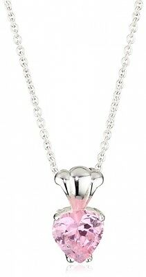 "Disney ""Princess"" Girl's Sterling Silver Pink Cubic Zirconia Heart Pendant Neckl"