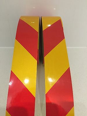 Hi-Vis Red/Yellow Striped Adhesive Reflective Safety Tape 50mm x5m Bundle