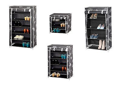 Canvas Shoe Storage Cabinet Tiered Shelves Footwear Stand Rack Unit Cupboard