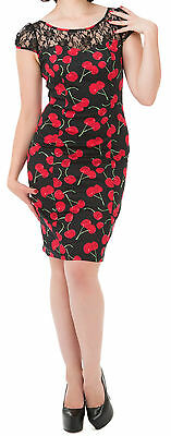 Women's Rockabilly Pin-up Retro Vintage 50's 60's 70's Cherry Wiggle Dress
